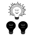 Set of electric bulbs bright on top outline vector image