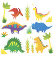 set with funny cartoon dinosaurs triceratops vector image