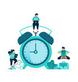 setting alarm clock to wake up in morning vector image vector image