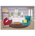 stylish interior of living room full of modern vector image vector image