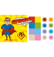 superhero background set super hero character vector image