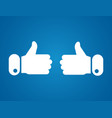 thumbs up icon on blue background like symbol vector image vector image