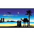 travelers near the palm trees at night