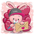 valentine card with cute cartoon rabbit vector image vector image