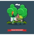 Walk with baby concept flat vector image