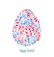 watercolor floral easter symbol egg vector image