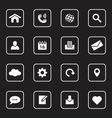 white flat icon set 1 with rounded rectangle frame vector image vector image