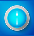 white fork icon isolated on blue background vector image vector image