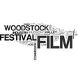 Woodstock film festival text word cloud concept