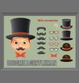 mustache bow glasses top hat gentleman victorian vector image
