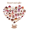 Symbol Heart made of different desserts Cake vector image