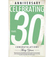 30 years anniversary retro background vector image vector image
