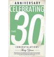 30 years anniversary retro background vector image vector image