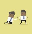 african businessman walks away from coworker vector image