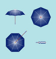 an umbrella open front top bottom and folded vector image vector image