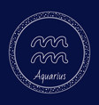aquarius astrology zodiac sign isolated in circle vector image vector image