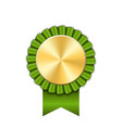 award ribbon gold icon golden green medal design vector image vector image