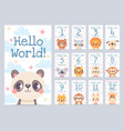 baby month cards with animals monthly milestone vector image