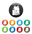 backpack milk burger icons set color vector image vector image