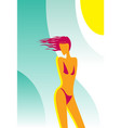 beach scene sunny girl with flying hair vector image