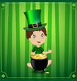 boy in leprechaun cosume with cauldron gold vector image