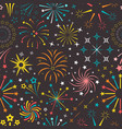 bright explosions fireworks seamless pattern vector image vector image