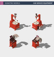 car service equipment set isometric vector image