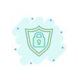 cartoon lock with shield security icon in comic vector image vector image