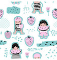 childish seamless pattern with girls with fruits vector image vector image