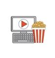 cinema online with computer desktop vector image vector image