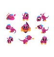 collection cartoon badragon for game design vector image