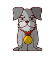 Cute dog mascot with medal
