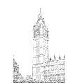 elizabeth tower big ben hand drawn vector image