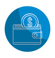 emblem wallet with coin money inside vector image