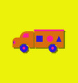 flat icon design kids truck silhouette in sticker vector image vector image