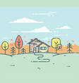 flat linear a suburban house in the autumn vector image
