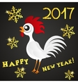 Greeting card happy new year the red rooster vector image vector image
