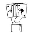hand with cards vector image vector image