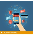 Hand with phone Online shopping vector image vector image