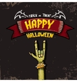 Happy halloween card with zombie hand vector image