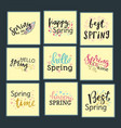 hello spring time lettering text greeting vector image vector image