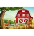 Horses at the farm near the red barnhouse vector image vector image