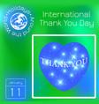 international thank you day space heart calendar vector image
