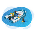 isometric inflatable boat a modern inflatable vector image vector image