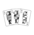 jack queen and king poker cards hand vector image vector image