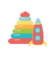 kids toy plastic pyramid and rocket icons vector image vector image