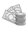 line bills and coins cash moey currency vector image vector image