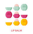 lip balm set cosmetic icons collection vector image vector image