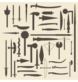 Medieval weaponry silhouette icons set Perfect vector image vector image