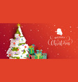 merry christmas card festive holiday pine tree vector image vector image